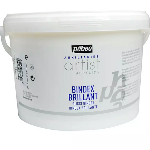 Pebeo Extra Fine Artist Acrylics Auxiliaries - Gloss Bindex - 4 Litre Tub