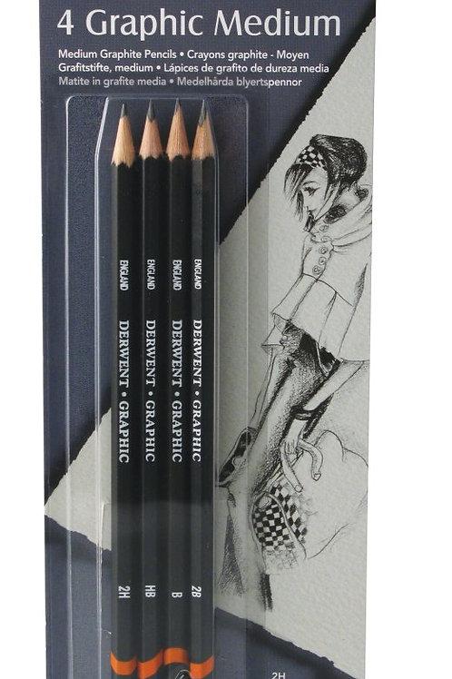 Derwent Graphic Pencils Blister - Pack of 4 (Medium)
