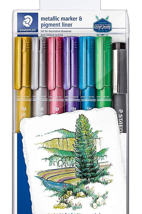 Staedtler Metallic Marker Set of 6 Colours + 1 Pigment Liner