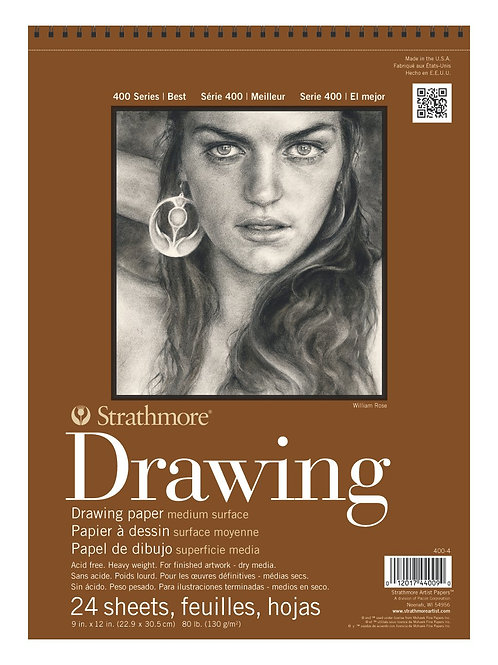 "Strathmore 400 Series Drawing 9""x12"" Grain 130 GSM Pad of 24 Sheets"
