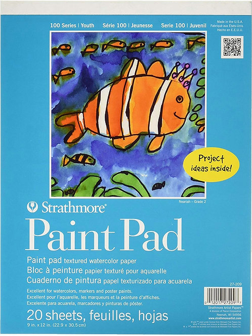 """Strathmore 27-209 100 Series Youth Paint Pad 9""""x12"""" Tape Bound - 20 Sheets"""