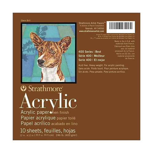 Strathmore 400 Series Acrylic 12''x12'' 400 GSM Paper - Pad of 10 Sheets
