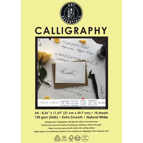 Art Essentials Calligraphy Italic 7,5mm Portrait Paper -  A4 - Pack of 10 Sheet