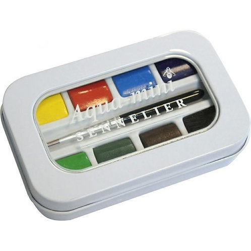 Sennelier Watercolour Paint Half Pan Aqua Mini - Set of 8