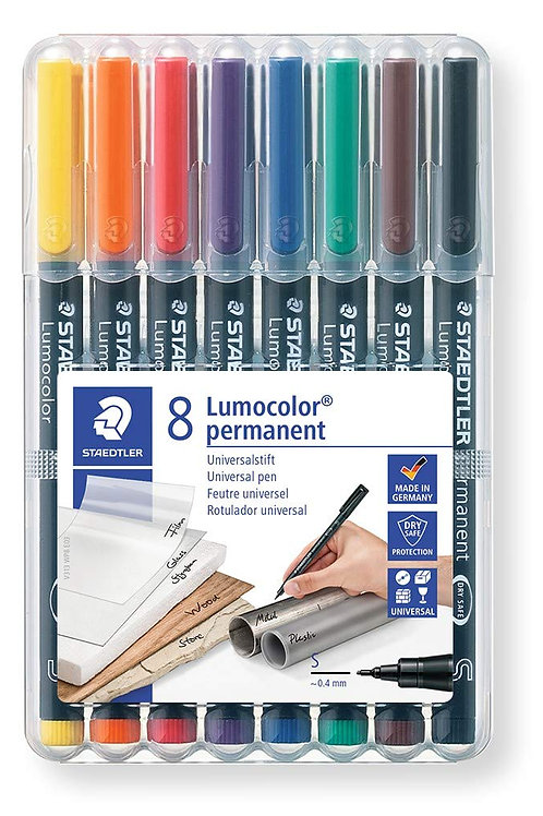 Staedtler Lumocolor Universal Permanent Superfine Pens - 8 Assorted Colours