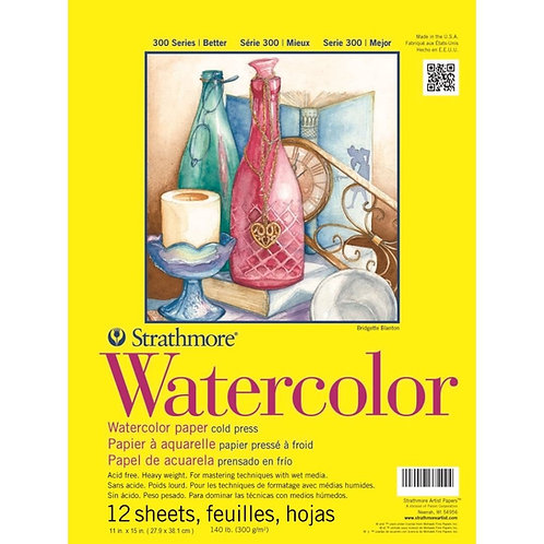 Strathmore 300 Series Watercolor 11''x15''300 GSM Paper - Pad of 12 Sheets