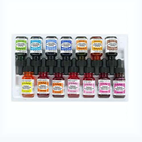Dr. Ph. Martin's Radiant Concentrated Watercolour Bottles - Set of 14 (Set D)