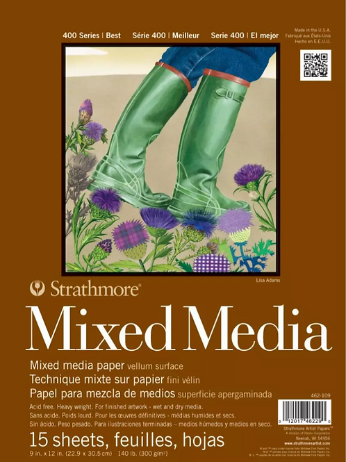 "Strathmore 400 Series Mixed Media Pad 9""x12"" White - 15 Sheets"