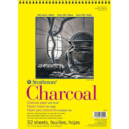"""Strathmore 300 Series Charcoal 9""""x12"""" 95 GSM Paper - Album of 32 Sheets"""