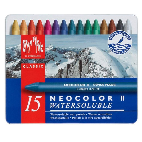 Caran Dache Classic Neocolor II Water-Soluble Pastels - Set of 15 Colors