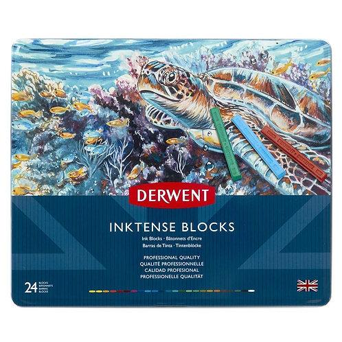 Derwent Inktense Watersoluble Ink Blocks Tin - Set of 24