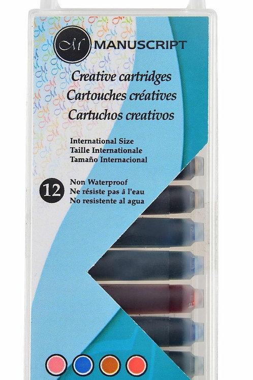 Manuscript MC0462ASC 12 Creative Colour Fountain Calligraphy Pen Ink Cartridges