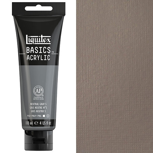 Liquitex Basics Acrylic Colour 118ml - Neutral Grey 5