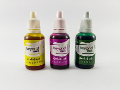 Beyond Inks Alcohol Inks Sunshine, Magenta & Pine - 3x20ml