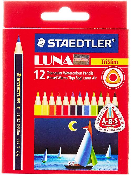 Staedtler Luna Tri Half Size Watercolour Pencils - Set 12 Shades