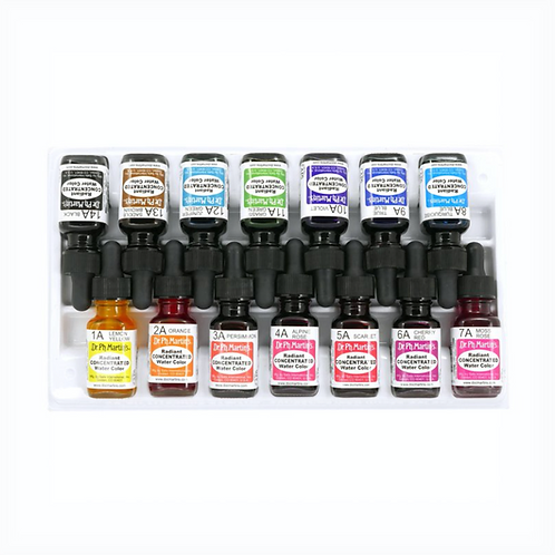 Dr. Ph. Martin's Radiant Concentrated Watercolour Bottles - Set of 14 (Set A)
