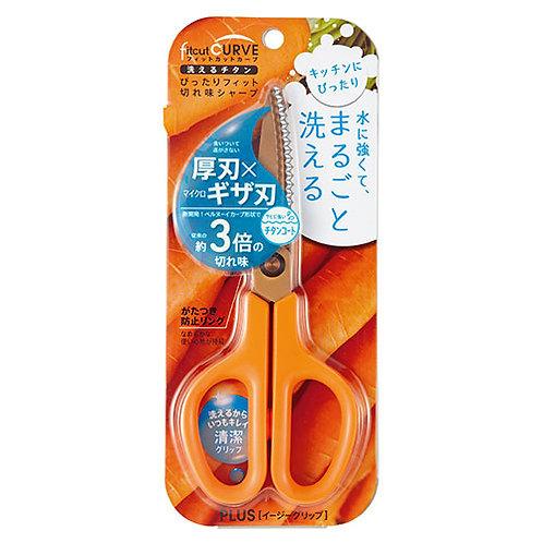 Plus Japan Scissors, Fitcut Curve, Orange Titanium Coated, Kitchen Use - SC-175S