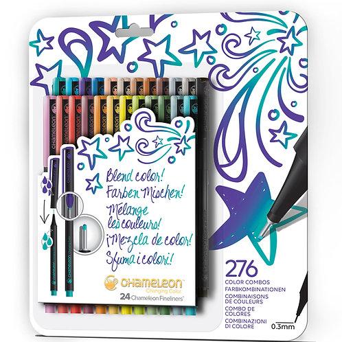 Chameleon Fineliner Pens Colours set of 24 - Bold Colours