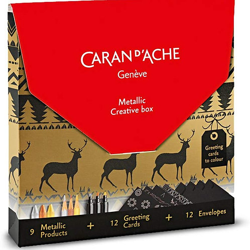 Caran Dache Metallic Creative Box 9 Products + 12 Cards - Gift Pack