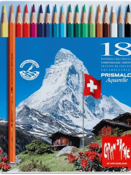 Caran Dache Prismalo Aquarelle Colour Pencil - Set of 18