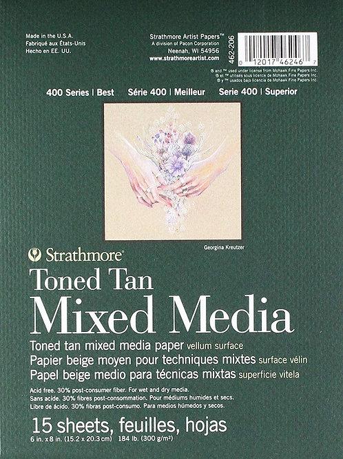 "Strathmore 462-206 400 Series Toned Tan Mixed Media Pad 6""x8""- 15 Sheets"