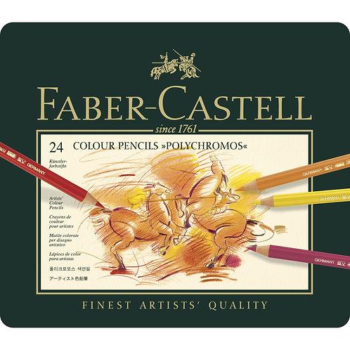 Faber Castell Polychromos Artists' Colour Pencils - Tin of 24