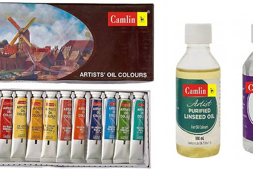 Camlin Artist Oil Colour 20ml - 12 Shade with 100ml Turpentine and Linseed Oil