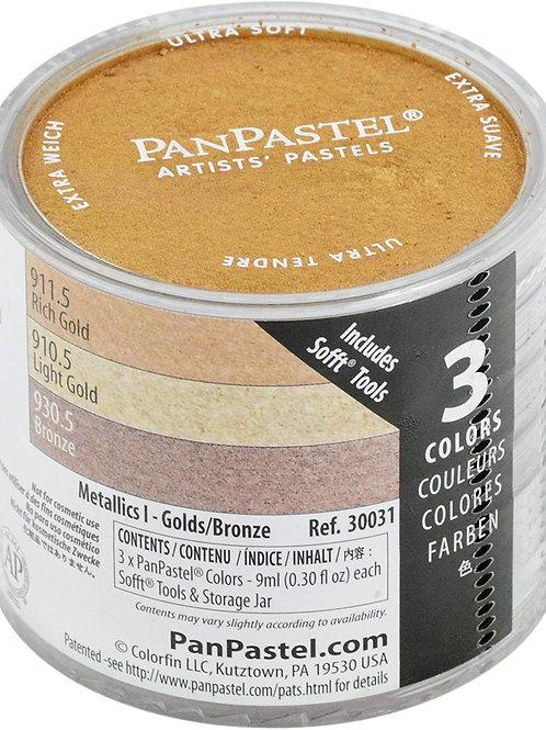 Colorfin Pan Pastel Metallic 1 - Light Gold, Rich Gold, Bronze - 1 Pack (30031)