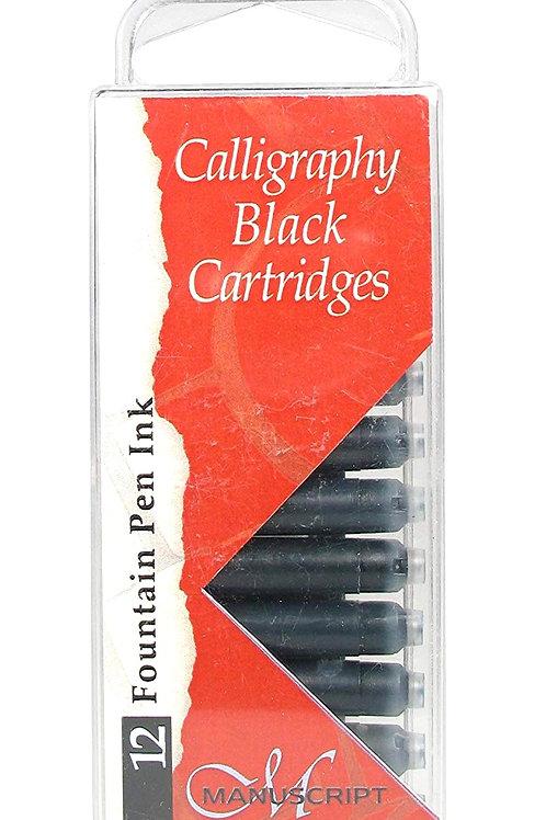Manuscript MC0401CB Fountain Pen Ink Calligraphy Cartridges - Black - 12 Pack