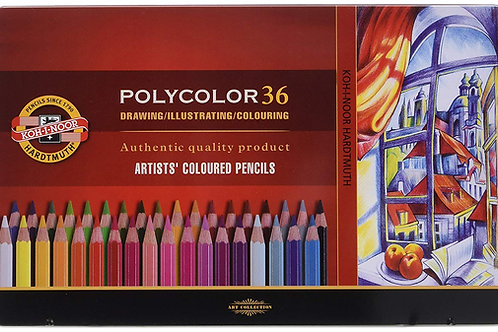 Kohinoor Hardtmuth Polycolor Artist Coloured Pencils Set of 36 - (Tin Box Pack)