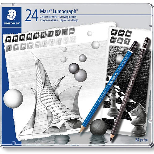 Staedtler Mars Lumograph Artist Pencil Set - Pack of 24