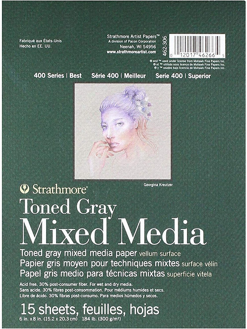 "Strathmore 462-306 400 Series Toned Gray Mixed Media Pad 6""x8""- 15 Sheets"