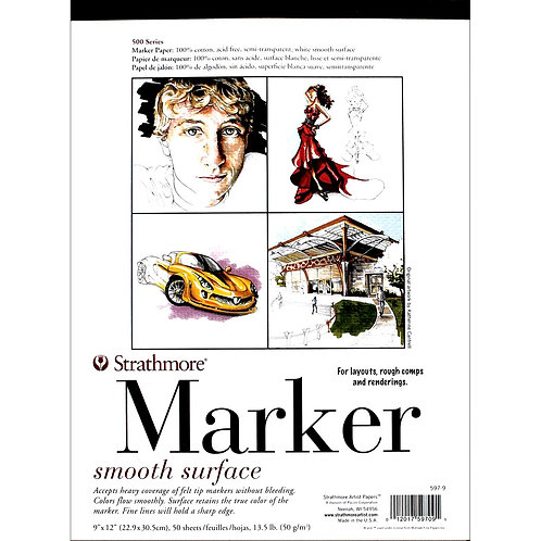 """Strathmore500 Series Marker 9""""x12""""50 GSM Paper - Pad of 50 Sheets."""
