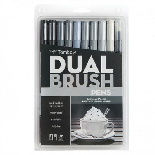 Tombow Dual Brush Pens Set of 10 - Grey Scale