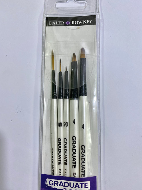 Daler Rowney Graduate All Purpose Brush Synthetic Detail Set - Pack of 5