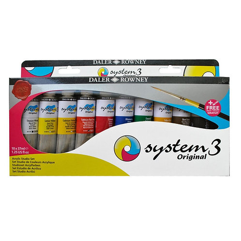 Daler Rowney System 3 Acrylic Studio - Set of 10x38ml with Brush