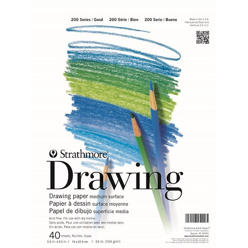 Strathmore 200 Series Drawing 5.5''x8.5'' - 104 GSM Paper Pad of 40 Sheets