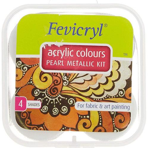 Fevicryl Acrylic Colors Pearl Metallic Kit 40ml - Set of 4 Shades