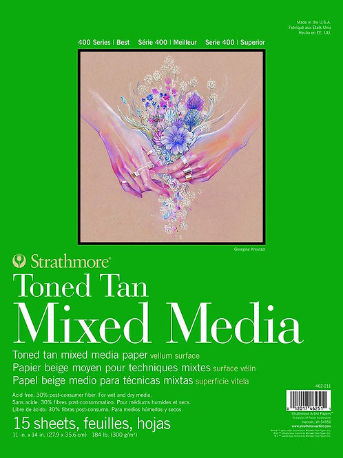 "Strathmore 462-206 400 Series Toned Tan Mixed Media Pad 11""x14""- 15 Sheets"