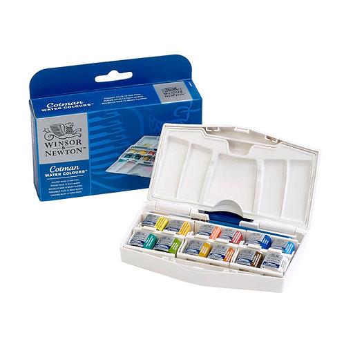 Winsor & Newton Cotman Water Colours Pocket Plus - 12 Half Pans