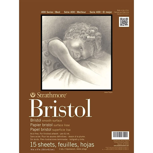 """Strathmore 400 Series Bristol 14""""x17"""" 270 GSM Paper- Pad of 15 Sheets"""