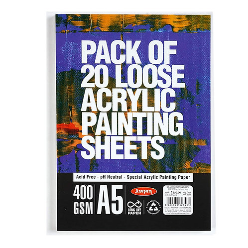 Anupam Acrylic Painting Loose Sheets 400gsm - A5