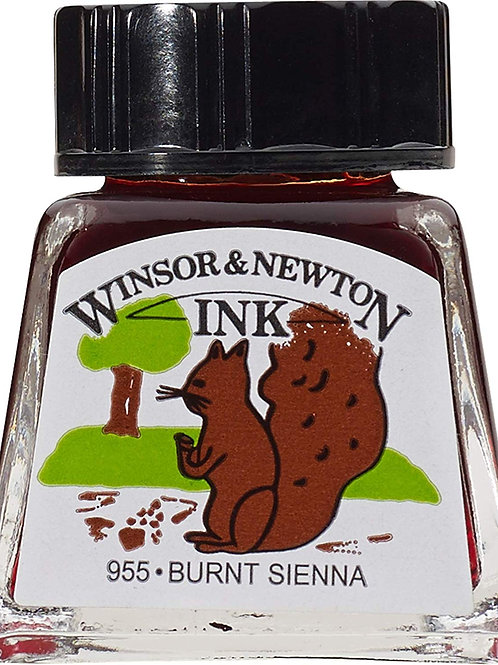 Winsor & Newton Drawing Ink Bottle Burnt Sienna - 14ml & 30ml