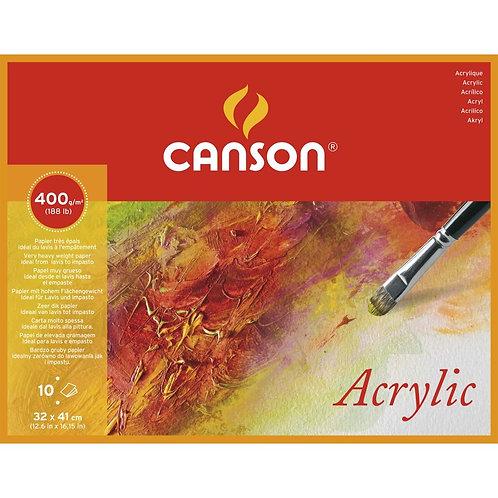 Canson Acrylic Pad 400gsm 4 Side Glue - 32 x 41 cm