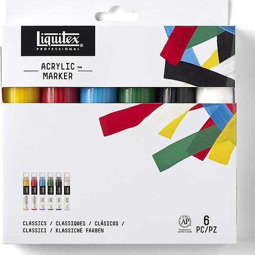 Liquitex Paint Marker Classic Set 8-15mm Wide Nib - Set of 6