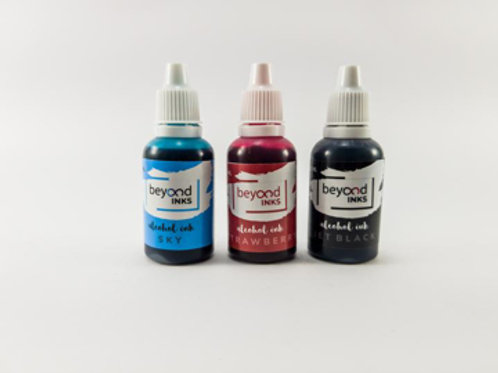 Beyond Inks Alcohol Inks Sky, Strawberry & Jet Black - 3x20ml