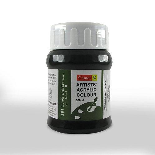 Camlin Kokuyo Artist Acrylic 500ml - Olive Green