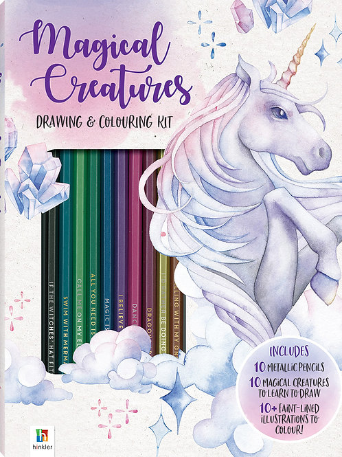 Hinkler Magical Creatures Colouring and Drawing Kit