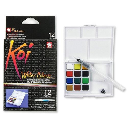 Sakura Koi Watercolour Cakes - Set of 12 (Field Kit)