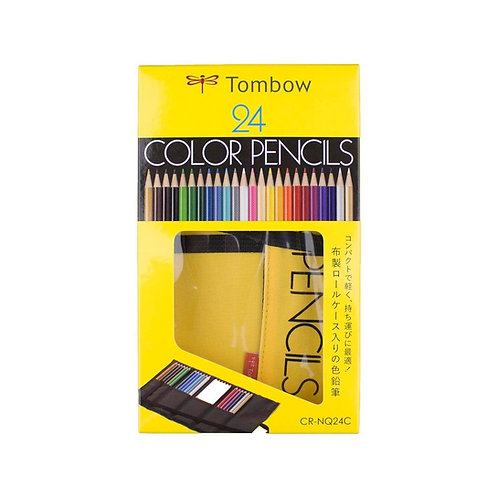 Tombow 1500 Series Coloured Pencils with - Set of 24 with Roll Up Case